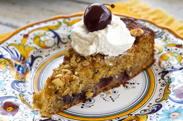 Cherry Nut Cake With Mascarpone Whipped Cream