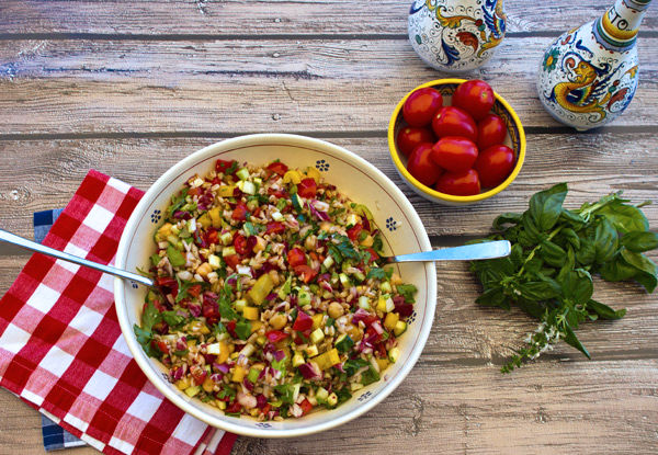 Italian Chopped Salad With Farro & Chickpeas